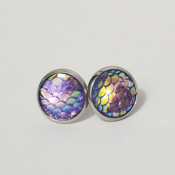 New 3/$20 Mermaid Scale Earrings 12mm
